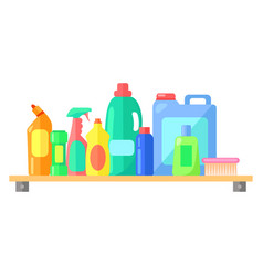 cleaning tools collection bottles vector image