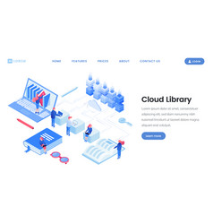 cloud library service landing page isometric vector image