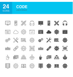 code line web glyph icons vector image