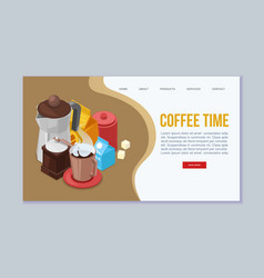coffee time web template vector image