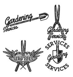 color vintage gardening emblems vector image