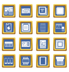 Computer chips icons set blue vector