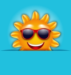 Cool Summer Sun in Sunglasses Beautiful Card vector image