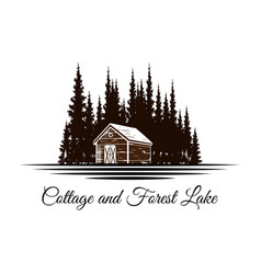 cottage and pine forest with lake river logo vector image