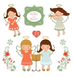 Cute Christmas collection with happy angels and vector image
