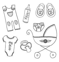 Cute design elements for baarrival card vector