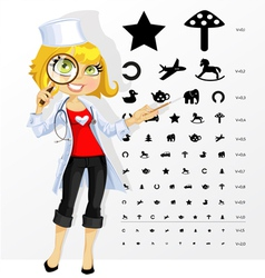 Cute doctor shows childrens table for eye tests vector image