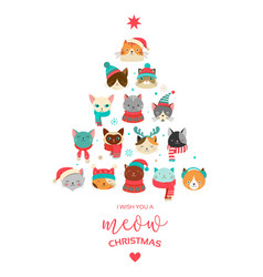 Cute xmas tree with cats heads vector