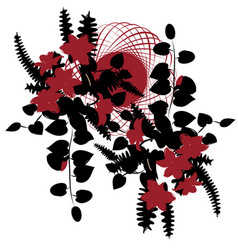 delicate wreath or ikebana with black leaves and vector image