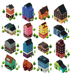 different isometric house buildings vector image