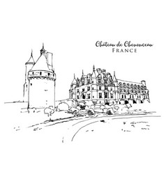 drawing sketch chateau de chenonceau vector image