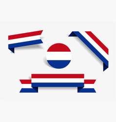 dutch flag stickers and labels vector image