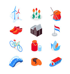 Dutch symbols - modern colorful isometric icons vector