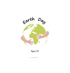 earth day april 22 sign with globe cute vector image