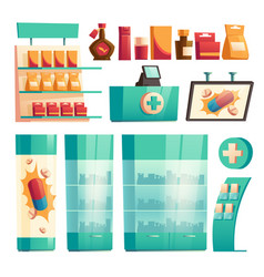 Elements pharmacy interior drugstore set vector