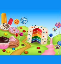 fantasy candy land with rainbow cake vector image