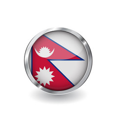 flag of nepal button with metal frame and shadow vector image