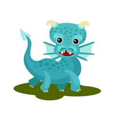 flat icon of blue baby dragon with small vector image