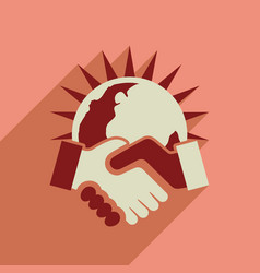 flat web icon with long shadow handshake vector image