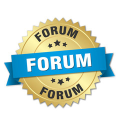 Forum round isolated gold badge vector