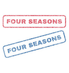 Four seasons textile stamps vector
