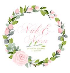 fresh pink floral garden watercolor wreath vector image