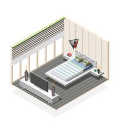 Futuristic bedroom interior isometric composition vector