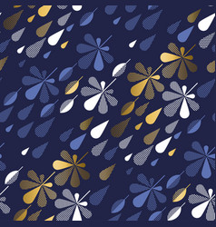 geometric leaves and rain drops seamless pattern vector image
