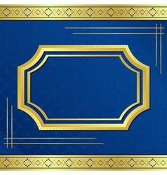 Golden frame with blue background vector