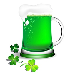 Green beer in glassware for St Patricks Day card vector image