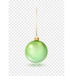 green christmas glass toys on a transparent vector image