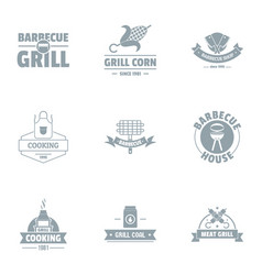 Grill logo set simple style vector