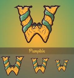Halloween decorative alphabet - W letter vector image vector image