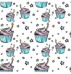 hand drawn bithday cupcake seamless pattern vector image