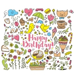 Happy Birthday card with colorful vector