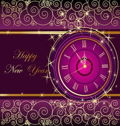 Happy New Year background with clock vector image