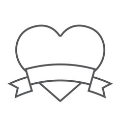 heart banner thin line icon valentine and holiday vector image