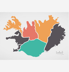 Iceland map with states and modern round shapes vector