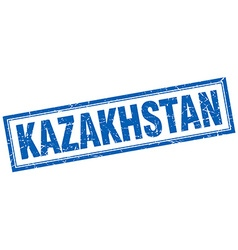 Kazakhstan blue square grunge stamp on white vector