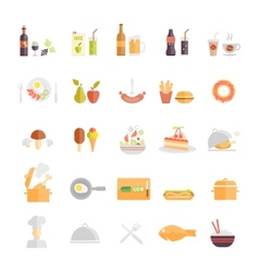 Large set of food and beverage icons vector
