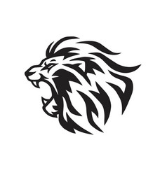 lion logo template line art vector image