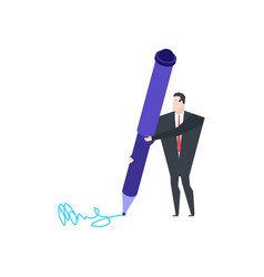 little businessman and big pen write signature vector image