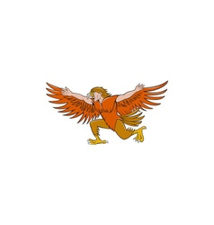Lleu Llaw Gyffes Spread Eagle Cartoon vector image