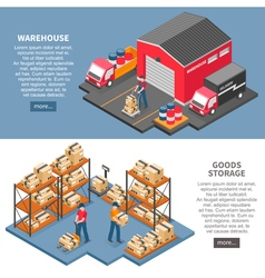 Logistics And Delivery Isometric Banners vector image
