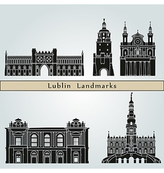 Lublin landmarks and monuments vector image