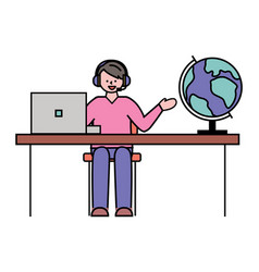 Man work in travel agency spherical earth globe vector