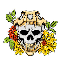 metallic monster skull with death skull and vector image