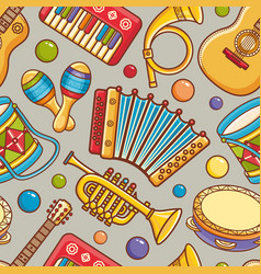 Musical instrument seamless pattern cartoon style vector