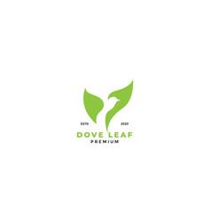 Negative space bird with leaf modern logo design vector