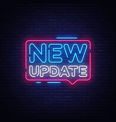 new update neon text new update neon sign vector image